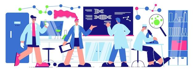 Ilustración horizontal de científicos con personajes masculinos y femeninos que trabajan en el laboratorio de ciencias en proyectos innovadores ilustración plana