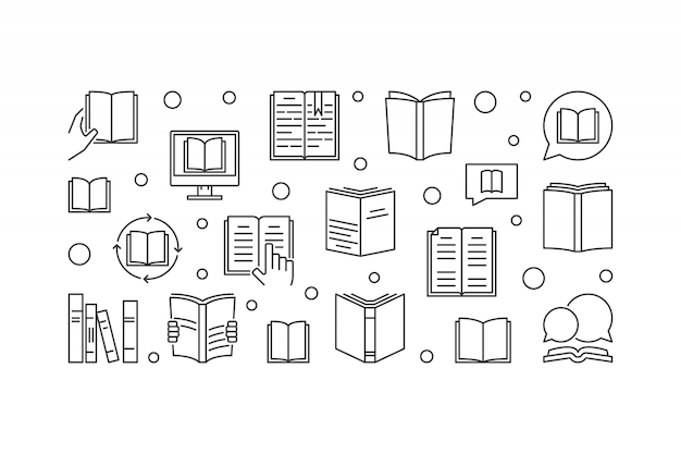 Ilustración horizontal de concepto de libros en estilo de línea fina