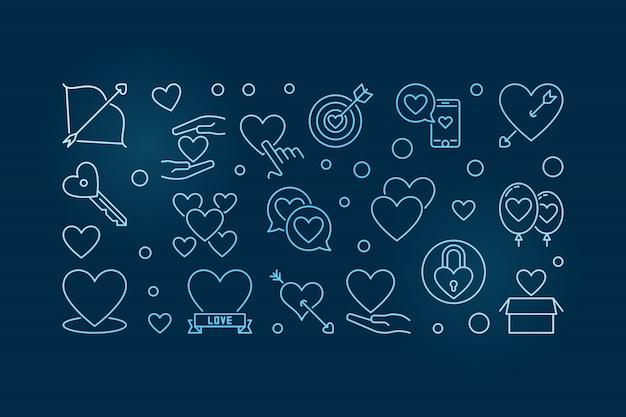 Ilustración horizontal de contorno azul de amor incondicional