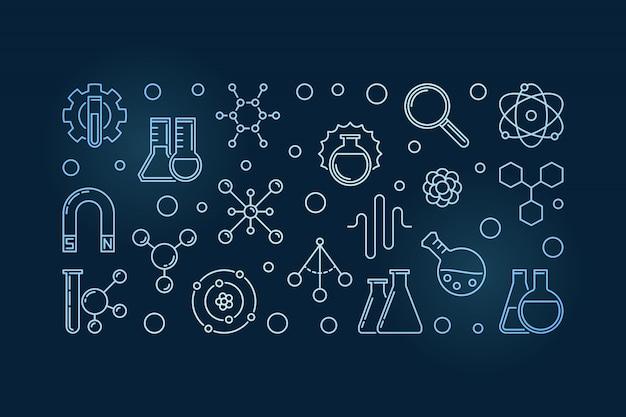 Ilustración horizontal de contorno azul de física química