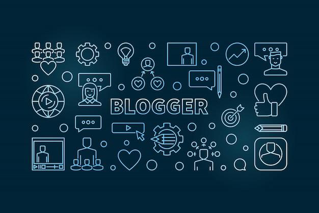 Ilustración horizontal de contorno creativo azul de blogger