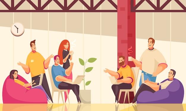 La ilustración horizontal de coworking con un grupo de empleados creativos discute una tarea comercial común durante un café en una oficina de espacio abierto
