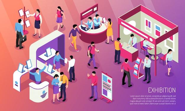 Ilustración horizontal de la exposición con visitantes que miran el producto anunciado y los personajes consultores en los stands de la exposición isométricos