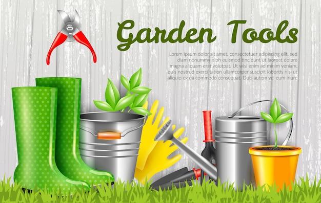 Ilustración horizontal de herramientas de jardín realista