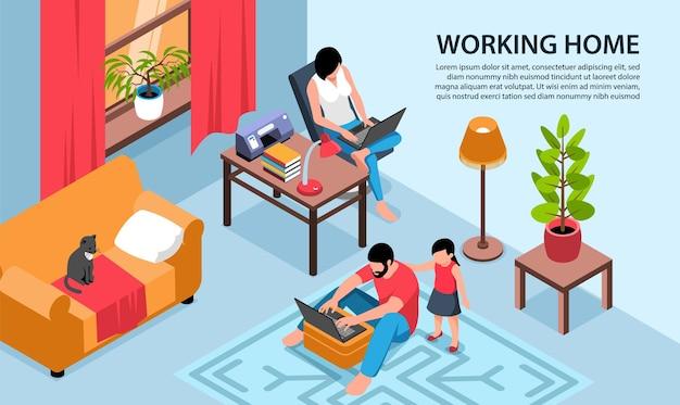 Ilustración horizontal isométrica de trabajo en casa con paisaje de sala de estar y padres con computadoras portátiles y texto