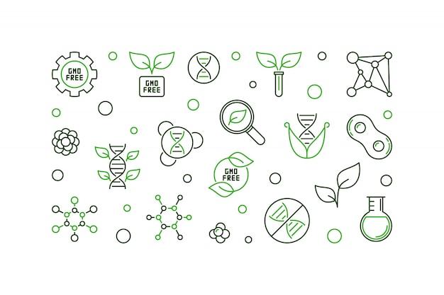 Ilustración horizontal de línea creativa gratuita de ogm