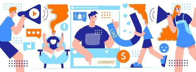 Ilustración horizontal de marketing de influencers con jóvenes creativos con narración de megáfono sobre productos para compradores potenciales