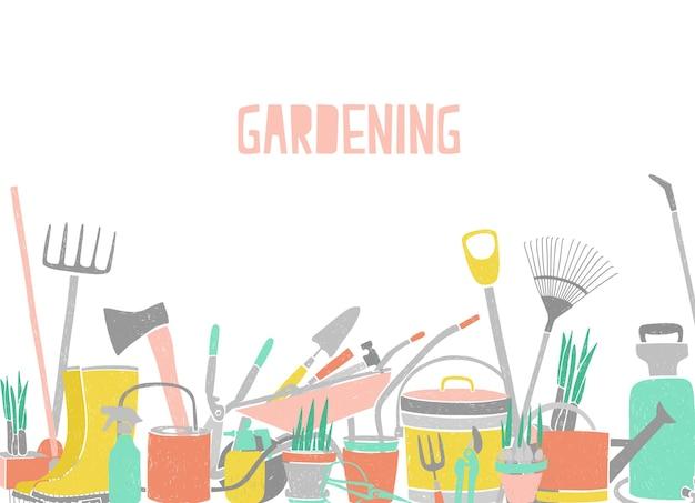 Ilustración horizontal moderna con herramientas de jardinería en el borde inferior en blanco