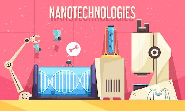 Ilustración horizontal de nanotecnologías con elementos de dispositivos modernos utilizados en ingeniería genética e investigación científica.