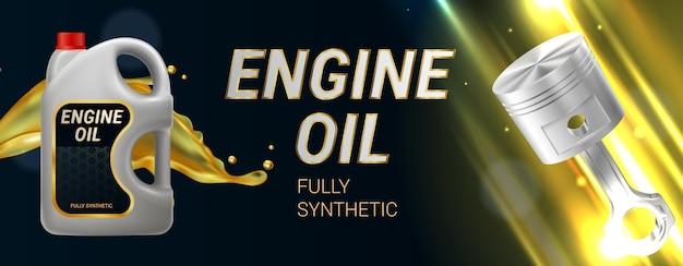 Ilustración horizontal realista de aceite de motor con pistón de recipiente de plástico y texto completamente sintético