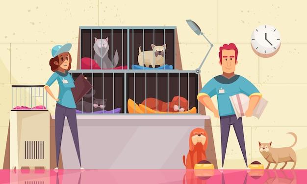 Ilustración horizontal de refugio de animales con mascotas sentadas en jaulas y voluntarios alimentando animales planos