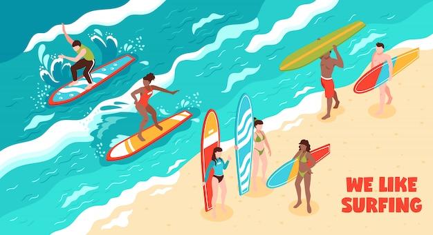 Ilustración horizontal de surf