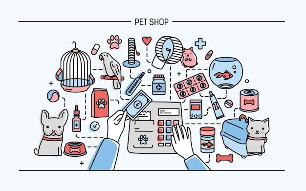 Ilustración horizontal de la tienda de mascotas con animales y venta de medicamentos.