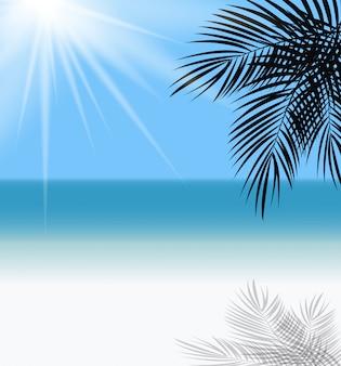 Ilustración de horizonte de mar y hoja de palma