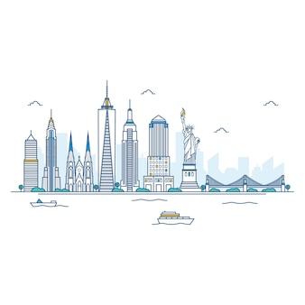 Ilustración del horizonte de nueva york.