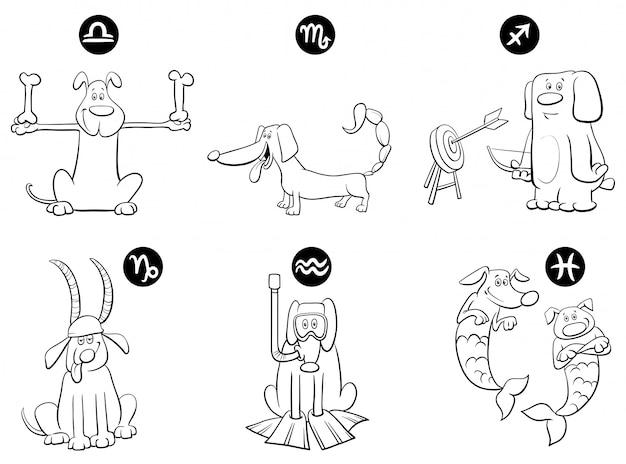 Ilustración del horóscopo signos del zodiaco con perros set