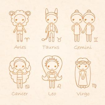 Ilustración del horóscopo del zodiaco
