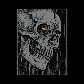 Ilustración de horror de cráneo