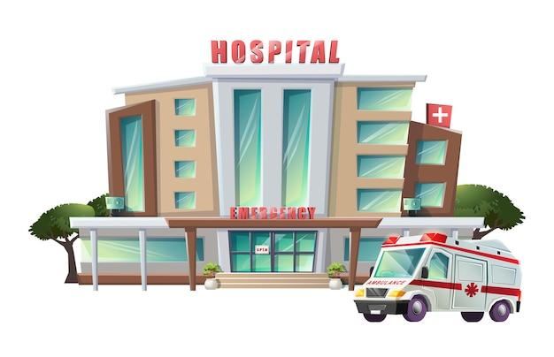 Ilustración de hospital con ambulancia