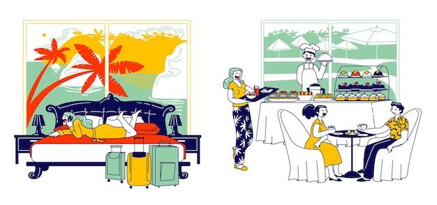 Ilustración de hospitalidad y servicio de habitaciones.