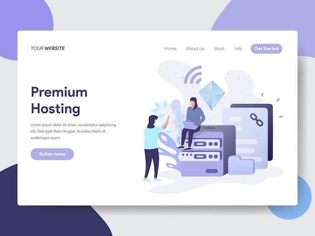 Ilustración de hosting premium para páginas web