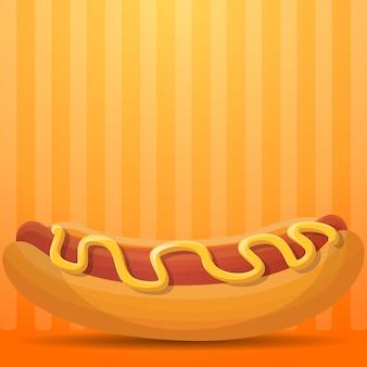 Ilustración de hot dog estadounidense, estilo de dibujos animados