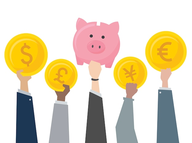 Ilustración de hucha y cambio de moneda