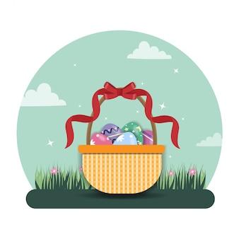 Ilustración de huevo de pascua con huevos en la cesta
