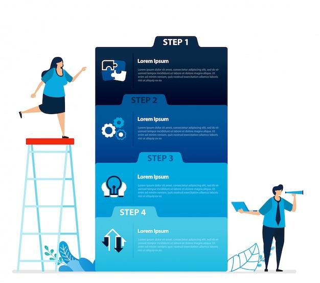 Ilustración humana y diseño infográfico para opciones de negocios, pasos en el aprendizaje, procesos educativos.