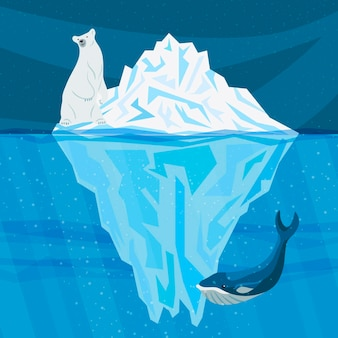 Ilustración de iceberg con ballena y oso polar