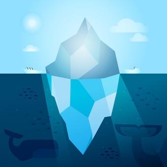 Ilustración de iceberg con ballenas y peces