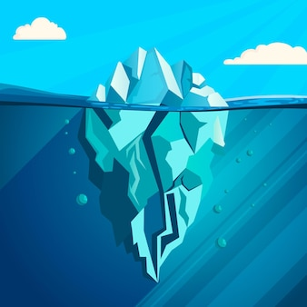Ilustración de iceberg de diseño plano con nubes
