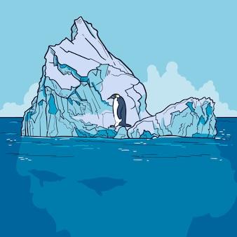 Ilustración de iceberg con pingüino