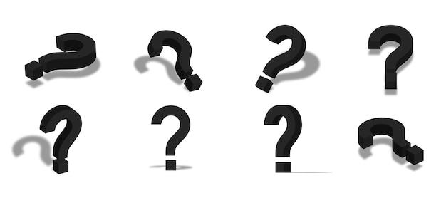 Ilustración de icono 3d de signo de interrogación negro con diferentes vistas y ángulos
