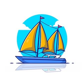 Ilustración del icono de barco de vela. concepto de icono de transporte de agua.