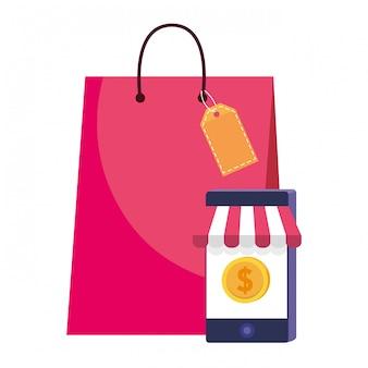 Ilustración del icono de bolsa y smarthone