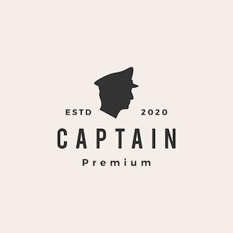 Ilustración de icono de capitán vintage logo