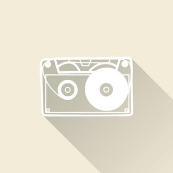 Ilustración del icono de cassette, patrón de música. portada creativa y de lujo