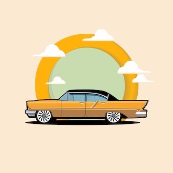 Ilustración de icono de coche clásico.