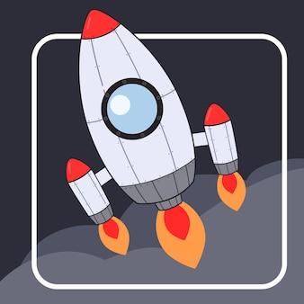 Ilustración de icono de cohete espacial de triple jet.