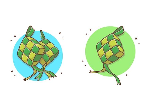 Ilustración de icono de comida ketupat
