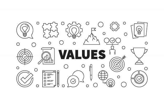 Ilustración del icono del concepto de valores en estilo de línea fina