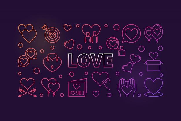 Ilustración de icono de contorno coloreado de concepto de amor