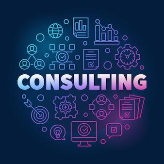 Ilustración de icono de contorno colorido redondo de consultoría