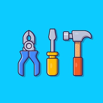 Ilustración de icono de dibujos animados de alicates, martillo y destornillador. concepto de icono de objeto de herramientas aislado. estilo de dibujos animados plana