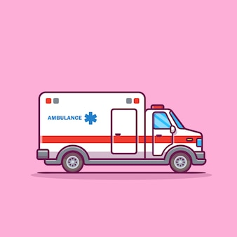 Ilustración de icono de dibujos animados de ambulancia.