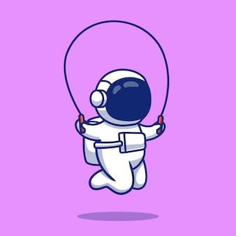 Ilustración de icono de dibujos animados de astronauta saltando a la cuerda. concepto de icono de deporte espacial aislado premium. estilo de dibujos animados plana