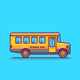 Ilustración de icono de dibujos animados de autobús escolar.