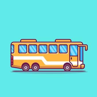 Ilustración de icono de dibujos animados de autobús.