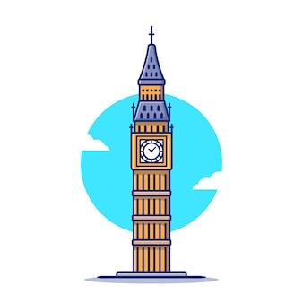 Ilustración de icono de dibujos animados de big ben. famoso edificio viajando icono concepto aislado. estilo de dibujos animados plana